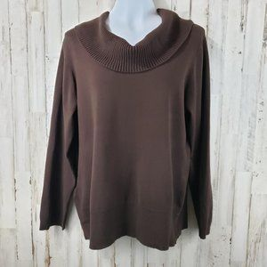 Chico's Womens Sweater Brown Ribbed Cowl Neck and